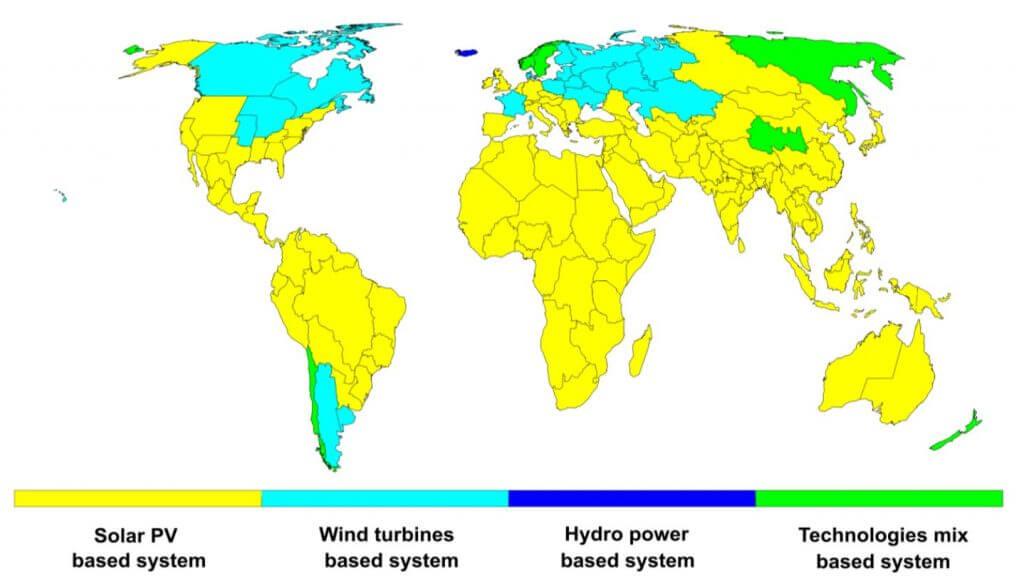 Energiewende, erneuerbare Energien. Weltkarte